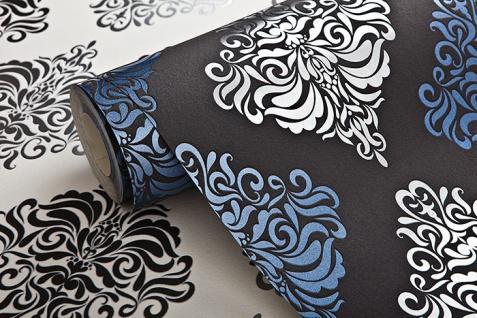 Barock Tapete EDEM 85024BR22 Vinyltapete glatt mit Ornamenten und metallischen Akzenten anthrazit dunkel-grau violett-blau silber 5, 33 m2 - Vorschau 2