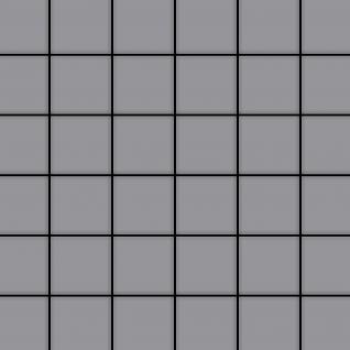 Mosaik Fliese massiv Metall Edelstahl matt in grau 1, 6mm stark ALLOY Cinquanta-S-S-MA 0, 94 m2