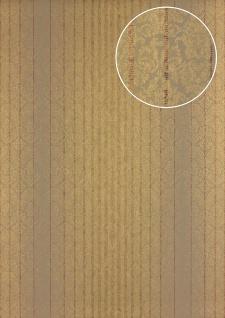 Streifen Tapete Atlas PRI-528-1 Vliestapete glatt im Barock-Stil schimmernd braun grün-braun khaki-grau perl-gold 5, 33 m2