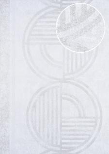 Grafik Tapete ATLAS HER-5139-2 Vliestapete geprägt mit geometrischen Formen schimmernd weiß perl-weiß perl-gold perl-beige 7, 035 m2