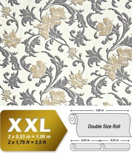 Blumen Tapete XXL Vliestapete EDEM 992-31 Florales Muster geprägte Struktur Luxus Design Tapete creme gold grau 10, 65 m2