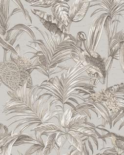 Vogel Tapete Profhome DE120011-DI heißgeprägte Vliestapete geprägt mit Vogel-Muster glänzend grau weiß silber 5, 33 m2