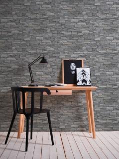 Stein Kacheln Tapete Profhome 958711-GU Vliestapete glatt in Steinoptik matt grau schwarz 5, 33 m2 - Vorschau 5