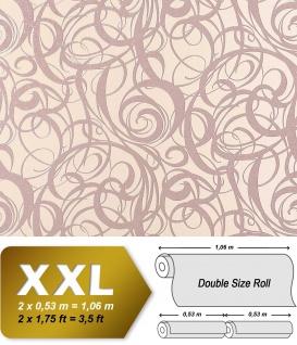 3D Vliestapete Grafiktapete XXL EDEM 971-33 Design geschwungene Linien abstraktes Wirbelmuster pastell-rosa   10, 65 qm