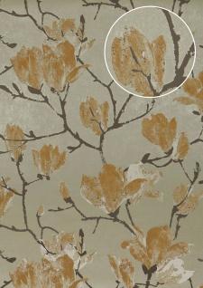 Blumen Tapete Atlas TEM-5110-4 HochwertigeVliestapete strukturiert mit grafischem Muster schimmernd grau grau-beige pastell-orange perl-beige 7, 035 m2