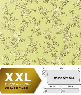 Blumen Vliestapete Vlies EDEM 919-38 Landhaus Blumentapete XXL Luxus 3D Präge-Struktur Floral grün creme gold hell-grün 10, 65 qm