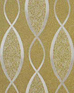 Retro Tapete EDEM 1018-15 Retrotapete Geschwungene Linien mit Ornamenten 70er Retro Style dezent glitzernd olive grün silber-grau