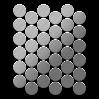Mosaik Fliese massiv Metall Edelstahl marine gebürstet in grau 1, 6mm stark ALLOY Medallion-S-S-MB 0, 73 m2 - Vorschau 3