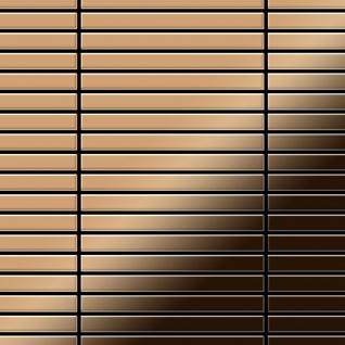 Mosaik Fliese massiv Metall Titan hochglänzend in kupfer 1, 6mm stark ALLOY Linear-Ti-AM 0, 94 m2