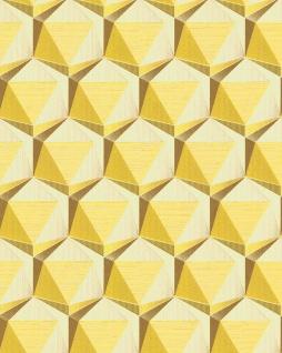 Retro Tapete EDEM 1050-11 Vinyltapete leicht strukturiert mit geometrischen Formen dezent glitzernd elfenbein zitronen-gelb ocker-gelb 5, 33 m2
