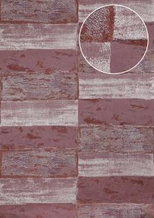 Stein-Kacheln Tapete Atlas ICO-5072-5 Vliestapete glatt mit Natur-Mustern schimmernd violett schwarz-rot wein-rot silber 7, 035 m2