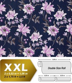 Blumen Tapete Vliestapete Landhaus Tapete EDEM 900-14 Floral Blumen Textiloptik blau hell-violett weiß grau 10, 65 qm