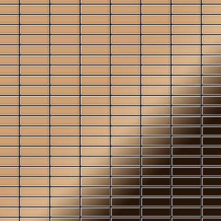 Mosaik Fliese massiv Metall Titan hochglänzend in Kupfer 1, 6mm stark ALLOY Cabin-Ti-AM 1, 01 m2