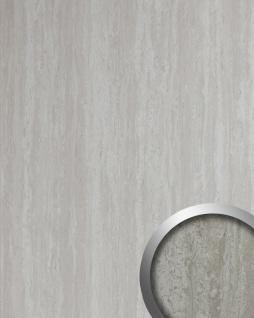 Wandverkleidung Kalkstein Optik WallFace 19339 TRAVERTIN Dekorpaneel glatt in Stein Optik glänzend selbstklebend grau weiß 2, 6 m2