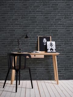 Stein Kacheln Tapete Profhome 942833-GU Vliestapete glatt in Steinoptik matt schwarz grau 5, 33 m2 - Vorschau 4