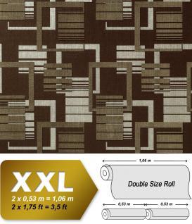 Grafische Muster Retro Tapete Vliestapete EDEM 609-94 70er Tapete XXL Designer grafische 3D Muster retro braun silber-grau 10, 65 qm