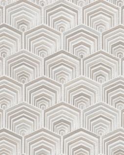 Ethno Tapete Profhome DE120041-DI heißgeprägte Vliestapete geprägt im Ethno-Stil glänzend weiß silber 5, 33 m2