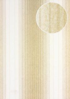 Streifen Tapete Atlas PRI-528-3 Vliestapete glatt im Barock-Stil matt beige creme-weiß hell-elfenbein perl-gold 5, 33 m2