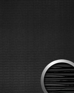 Wandverkleidung 3D Wellen-Struktur WallFace 15763 MOTION TWO Design Kunststoff Wandverkleidung selbstklebend schwarz | 2, 60 qm