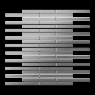 Mosaik Fliese massiv Metall Edelstahl gebürstet in grau 1, 6mm stark ALLOY Deedee-S-S-B 0, 63 m2 - Vorschau 3