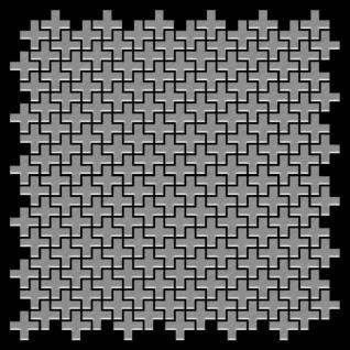 Mosaik Fliese massiv Metall Edelstahl marine gebürstet in grau 1, 6mm stark ALLOY Swiss Cross-S-S-MB 0, 88 m2 - Vorschau 3