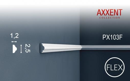 Profilleiste Friesleiste Stuck PX103F AXXENT flexible Wandleiste Zierleiste Profil Wand Rahmen | 2 Meter