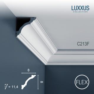 Zierleiste Orac Decor C213F LUXXUS flexible Stuckleiste Eckleiste Stuckprofil Dekor Decken Wand Leiste weiß   2 Meter