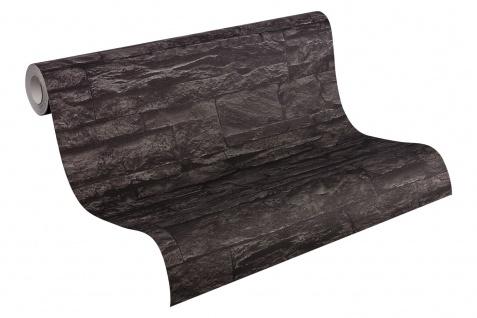 Stein Kacheln Tapete Profhome 707123-GU Vliestapete leicht strukturiert in Steinoptik matt grau schwarz 5, 33 m2 - Vorschau 2