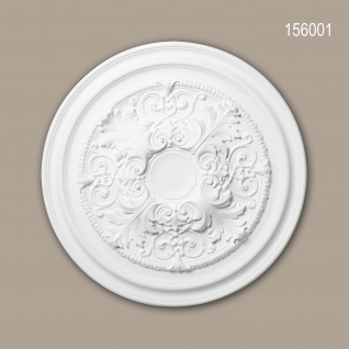 Rosette PROFHOME 156001 Deckenelement Zierelement Neo-Klassizismus-Stil weiß Ø 69, 5 cm