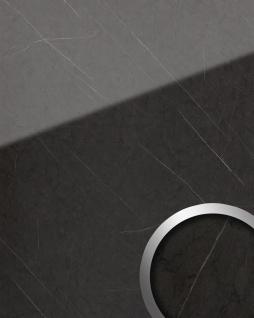 Wandpaneel Marmor Optik WallFace 19344 MARBLE GREY Dekorpaneel glatt in Naturstein Optik glänzend selbstklebend abriebfest anthrazit grau 2, 6 m2