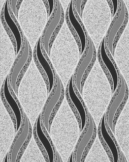 Grafische Tapete EDEM 1025-16 Buntsteinputz geschwungene Linien mit Ornamenten hellgrau schwarz silber - Vorschau 1