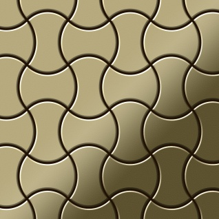 Mosaik Fliese massiv Metall Messing gewalzt in gold 1, 6mm stark ALLOY Infinit-BM Designed by Karim Rashid 0, 91 m2