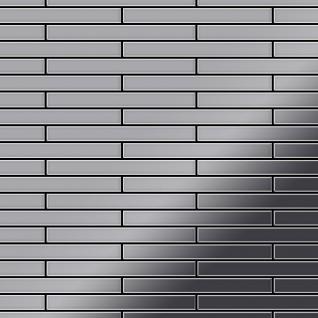 Mosaik Fliese massiv Metall Edelstahl marine hochglänzend in grau 1, 6mm stark ALLOY Deedee-S-S-MM 0, 63 m2