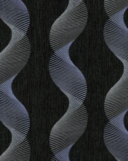 Grafik Tapete EDEM 85035BR36 Vinyltapete leicht strukturiert mit geschwungenen Linien und metallischen Akzenten anthrazit schwarz-grau violett-blau silber 5, 33 m2