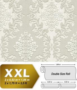 3D Barock Tapete EDEM 9123-20 heißgeprägte Vliestapete geprägt mit Ornamenten schimmernd grau weiß 10, 65 m2