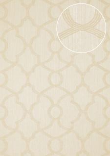 Exklusive Luxus Tapete Atlas PRI-557-5 Vliestapete strukturiert mit Ornamenten schimmernd elfenbein hell-elfenbein perl-weiß 5, 33 m2