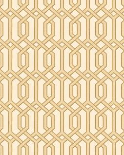 Grafik Tapete Profhome BA220012-DI heißgeprägte Vliestapete geprägt mit geometrischen Formen und metallischen Akzenten beige gold 5, 33 m2