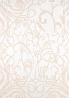 Barock Tapete ATLAS CLA-597-2 Vliestapete geprägt mit grafischem Muster glänzend beige perl-weiß creme-weiß 5, 33 m2