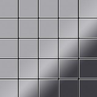 Mosaik Fliese massiv Metall Edelstahl marine hochglänzend in grau 1, 6mm stark ALLOY Century-S-S-MM 0, 5 m2 - Vorschau 1