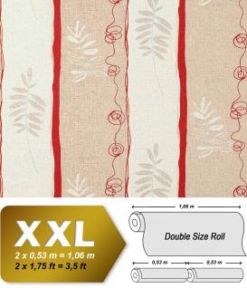 Streifen Tapete Vliestapete EDEM 685-94 XXL Designer Tapete florales Muster Breite beige kakao-braun rot 10, 65 qm