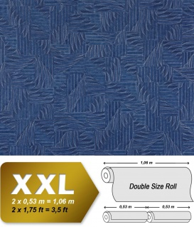 Grafik Vliestapete EDEM 913n-27 XXL abstraktes Textilgewebe Flechtwerk Designer Tapete silber königsblau 10, 65 qm