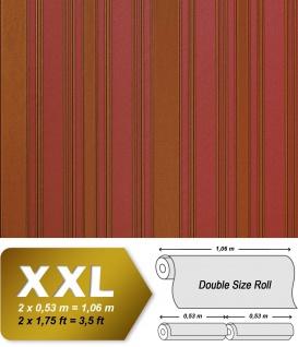 Streifen Tapete Vliestapete EDEM 980-35 Hochwertige XXL Tapete gestreiftes Struktur-Dekor erdbeer-rot goldbraun 10, 65 qm