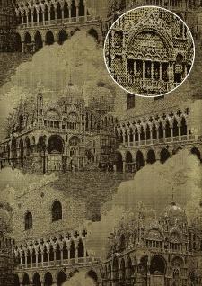 Grafik Tapete Atlas SIG-582-4 Vliestapete strukturiert mit architektonischen Motiven und metallischen Akzenten gold anthrazit creme-weiß 5, 33 m2