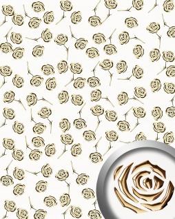 Dekorpaneel Rosen Dekor Blumen Design WallFace 16444 3D ROSE Paneel selbstklebend gold perlweiß | 2, 60 qm