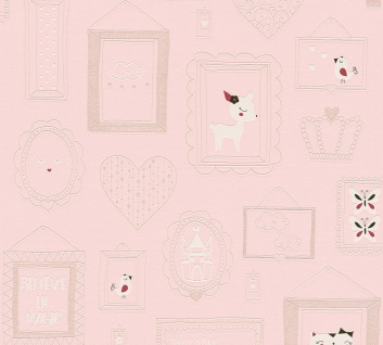 Kinder Tapete Profhome 369912-GU Vliestapete glatt mit Tier-Motiven matt rosa weiß 5, 33 m2
