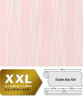 Streifen Vliestapete EDEM 955-25 XXL Tapete hochwertige geprägte Designer Tapete rosa creme silber 10, 65 qm
