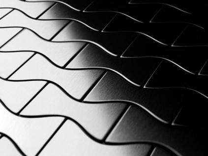 Mosaik Fliese massiv Metall Edelstahl gebürstet in grau 1, 6mm stark ALLOY Kismet-S-S-B Designed by Karim Rashid 0, 86 m2 - Vorschau 4