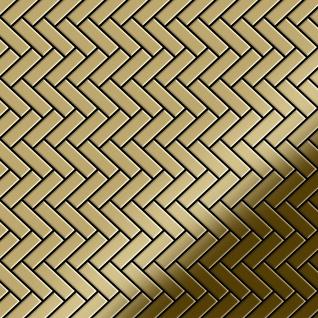 Mosaik Fliese massiv Metall Titan hochglänzend in gold 1, 6mm stark ALLOY Herringbone-Ti-GM 0, 85 m2