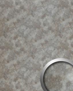 Wandpaneel Metalloptik WallFace 20187 OXIDIZED Wandverkleidung glatt im Vintage Look Rost-Optik selbstklebend abriebfest silber silber-grau 2, 6 m2