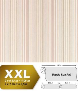 Streifen Tapete Vliestapete EDEM 692-91 XXL Elegance Flock Relief Tapete creme-weiß beige helles karamell-braun 10, 65 qm